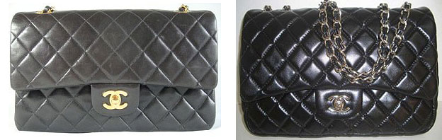 Chanel bag fake and authentic front view