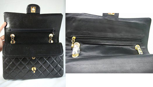 Chanel Classic bag authentic and fake inside view