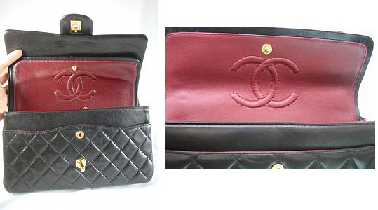 Chanel classic bag authentic and fake inside view red
