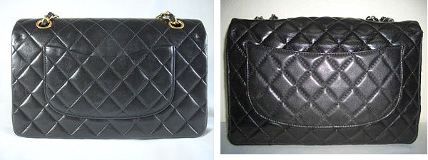 Chanel Classic bag authentic and fake pocket view