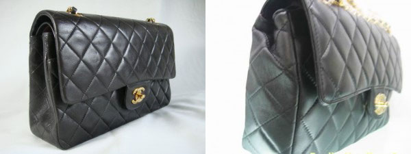 Chanel Classic bag authentic and fake side view