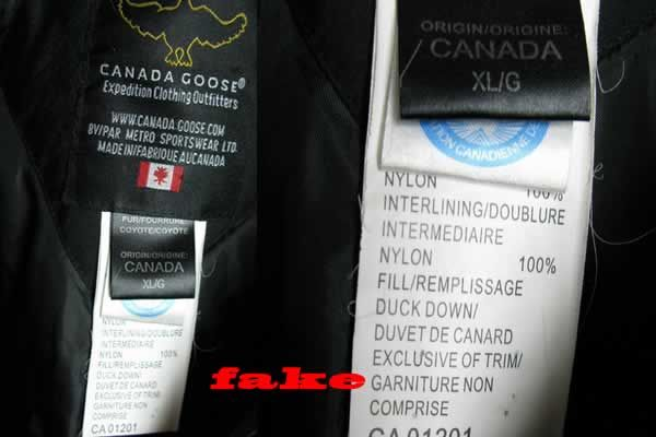 canada goose fake label